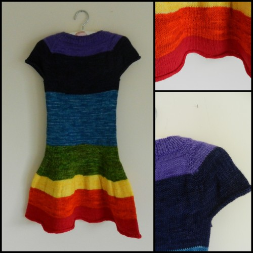 Rainbow dress - little grey hedgehog